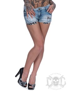 Skull Pocket Denim Shorts