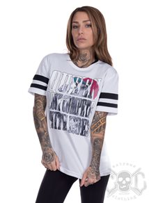 eXc Queen Dont Compete Mesh Stripe Tee, White